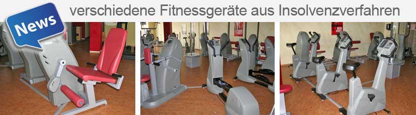 verschiedene Fitnessgeräte aus Insolvenz