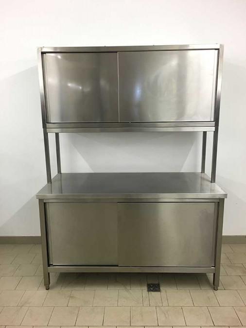 Edelstahl unterschrank mit oberschrank schiebturen b150xh2 for Küchen unterschrank edelstahl