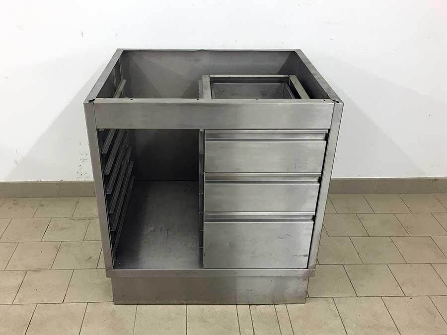 Edelstahl unterschrank mit schubladen 80x67cm for Küchen unterschrank edelstahl