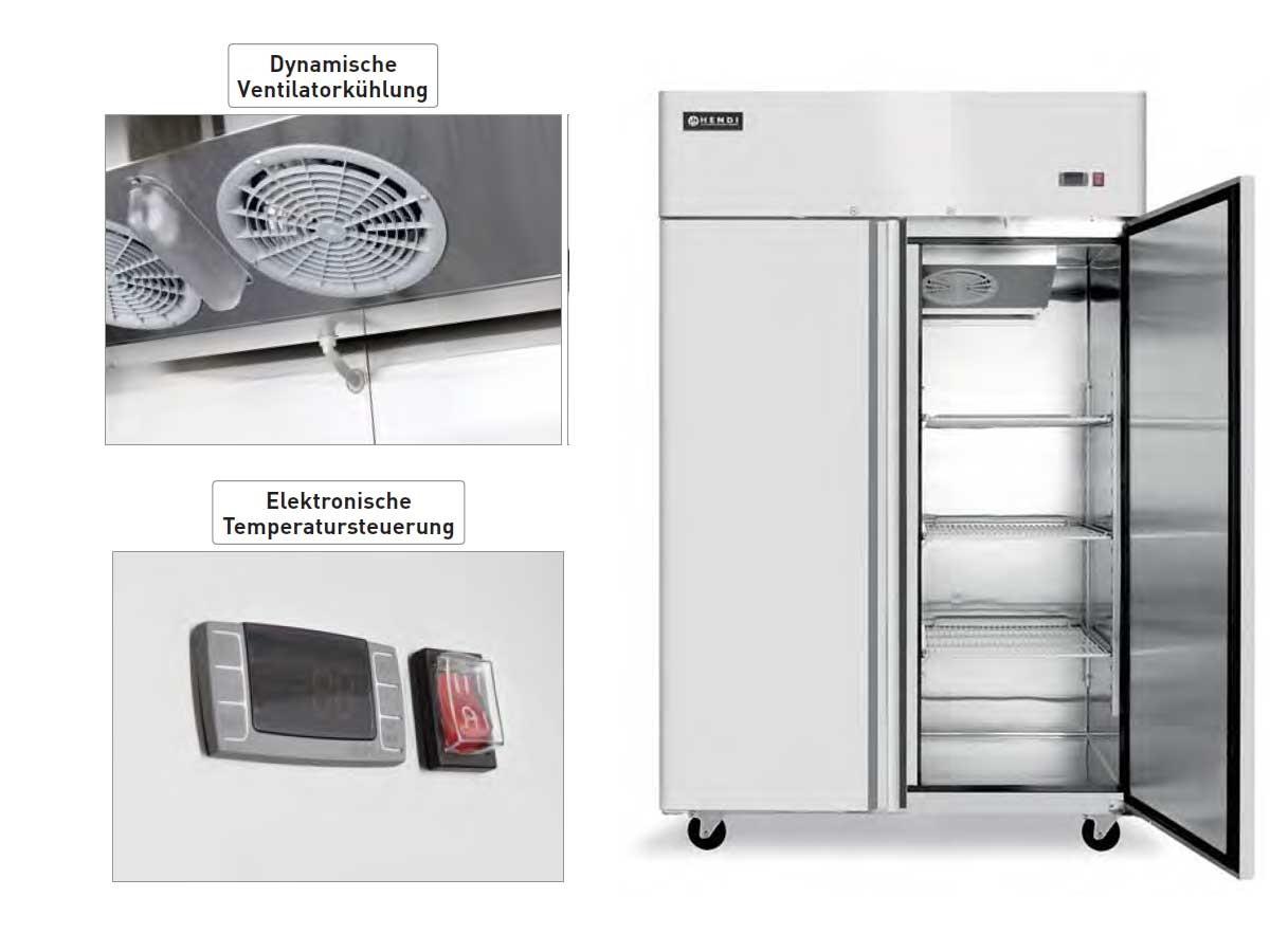 Edelstahl Kühlschrank zweitürig Profi Line Umluft 1300 Lite