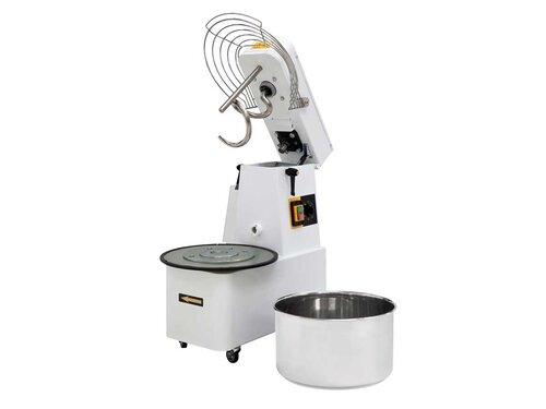 Teigknetmaschine mit aufklappbarem Rührwerk und abnehmbaren Kess