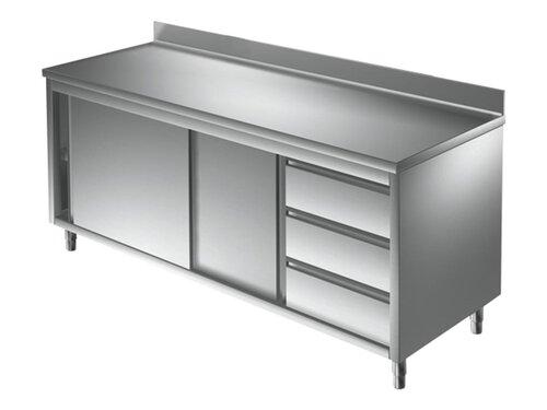 Arbeitsschrank 800 x 600 Edelstahl Edelstahlschrank Gastro Schrank Arbeitstisch